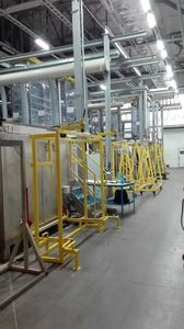 Poloautomatická jednořadá linka pro nanášení a stahování voskových  izolačních povlaků, linka pro stahování nekvalitních povlaků