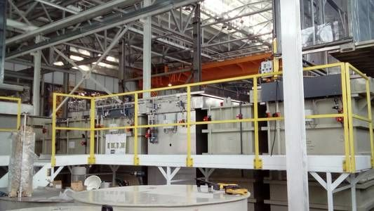Automatic two-row line for titanium casting on hinges and drums.